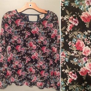 Sheer Floral Blouse with Peplum Back